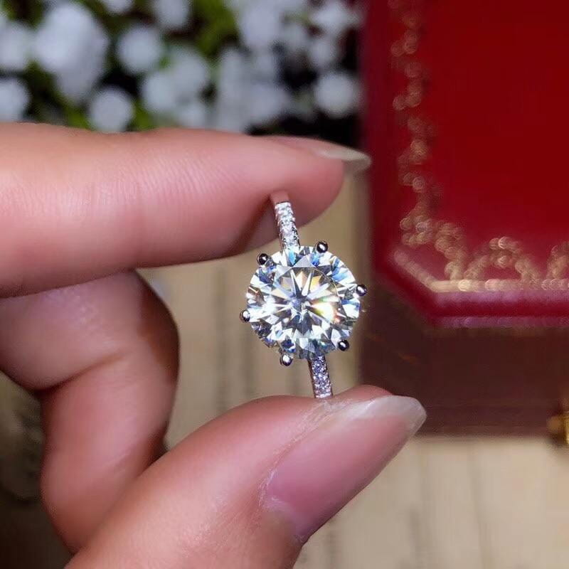 Platinum Plated Silver Moissanite Ring 1ct, 2ct, 3ct Options - Moissanite Engagement Rings & Jewelry | Luxus Moissanite