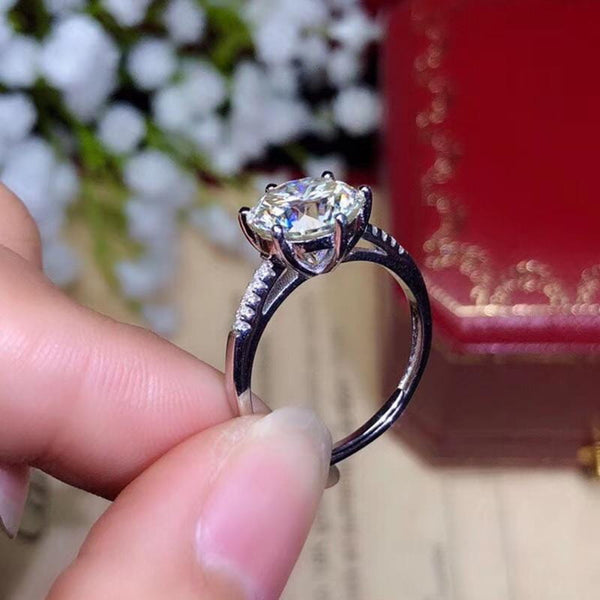 Moissanite Engagement Ring 1, 2, & 3 Carat Options - Luxus Moissanite Rings & Jewelry