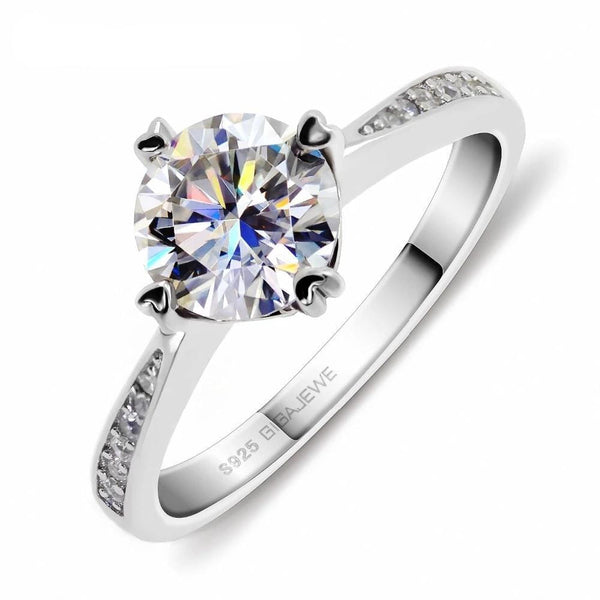 Silver Solitiare Moissanite Engagement Ring 1 Carat Total - Luxus Moissanite Engagement Rings