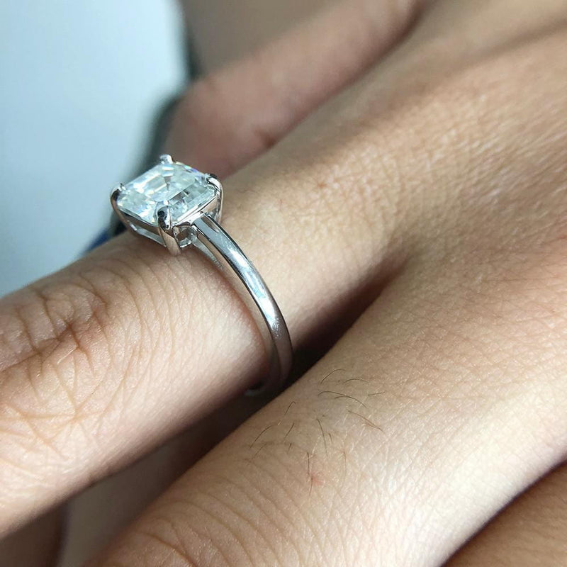 Platinum Plated Silver Solitiare Moissanite Ring 2ct - Moissanite Engagement Rings & Jewelry | Luxus Moissanite