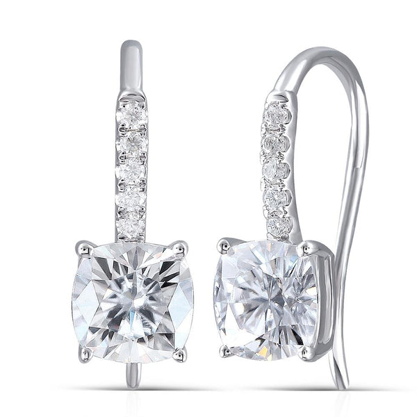 14k White Gold Cushion Cut Moissanite Drop Earrings