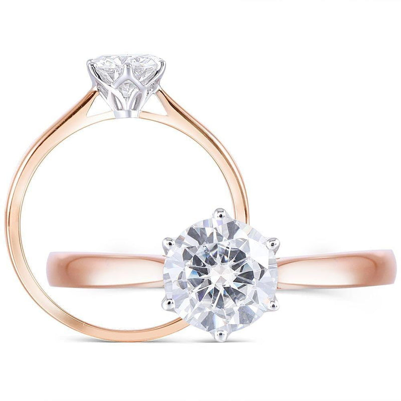 14k Rose & White Gold Solitaire Moissanite Ring 0.8ct - Moissanite Engagement Rings & Jewelry | Luxus Moissanite