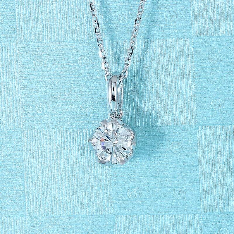 14k White Gold Moissanite Necklace 1ct - Moissanite Engagement Rings & Jewelry | Luxus Moissanite