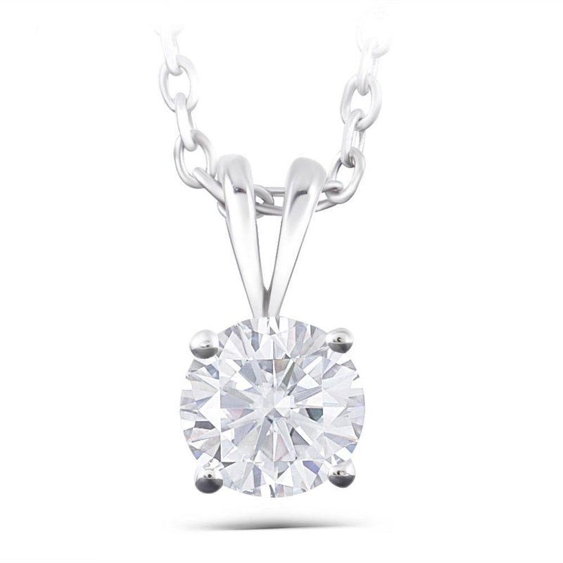 14k White Gold Moissanite Necklace 2 Carat