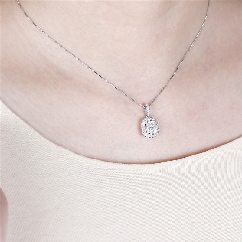 14k White Gold Cushion Cut Moissanite Necklace / Pendant 1.64 Carats Total