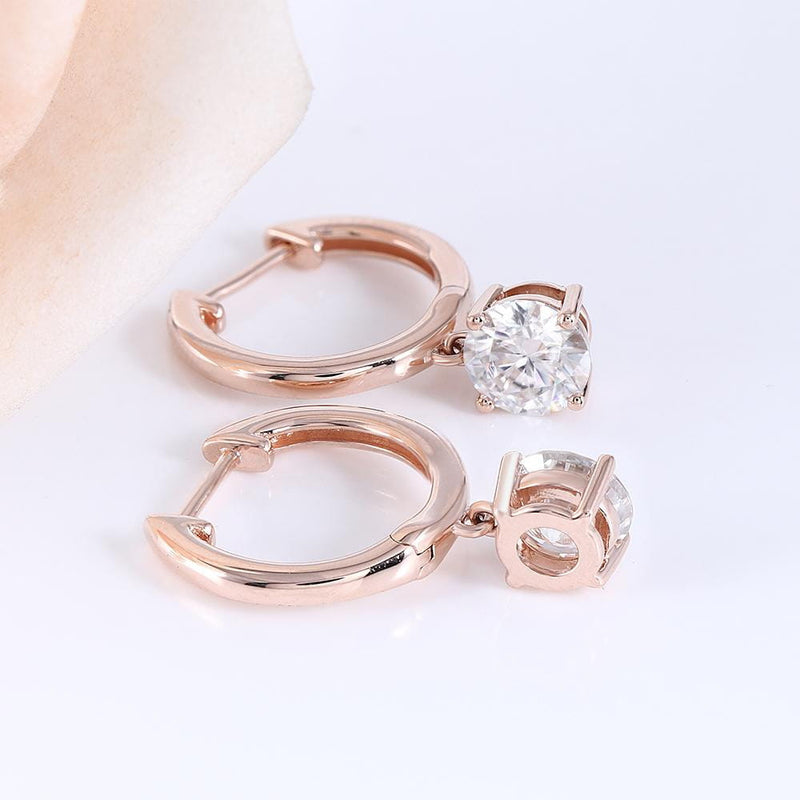 14k Rose Gold Hoop Moissanite Earrings 1ct Total - Moissanite Engagement Rings & Jewelry | Luxus Moissanite
