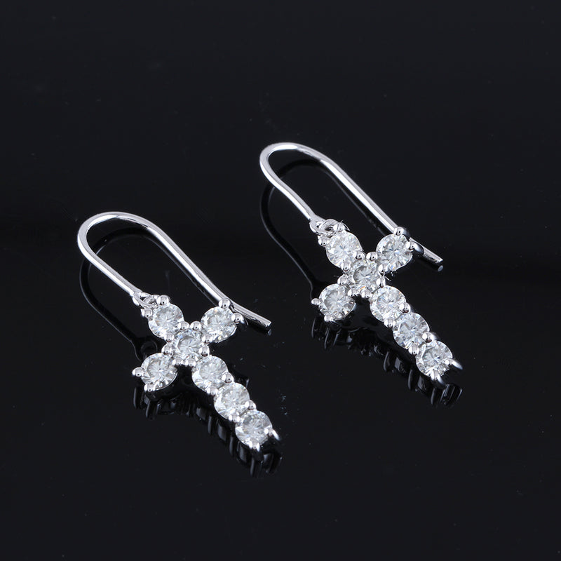 14k White Gold Drop Moissanite Cross Earrings 1.4ctw