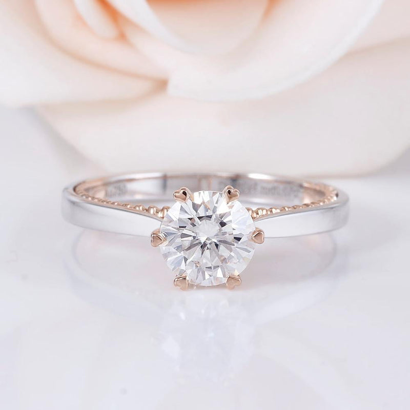 14k White & Rose Gold Moissanite Ring 1ct Center Stone
