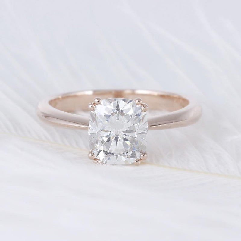 10k Rose Gold Cushion Cut Moissanite Ring 2ct - Moissanite Engagement Rings & Jewelry | Luxus Moissanite