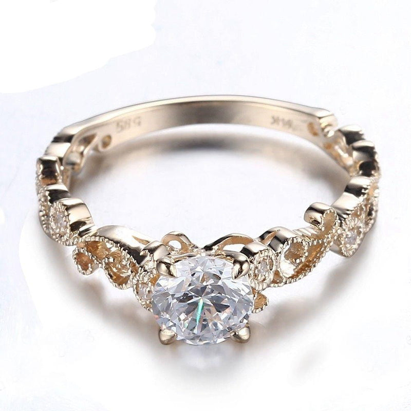 10k Yellow Gold Vintage Moissanite Ring 0.65ct Center Stone - Moissanite Engagement Rings & Jewelry | Luxus Moissanite