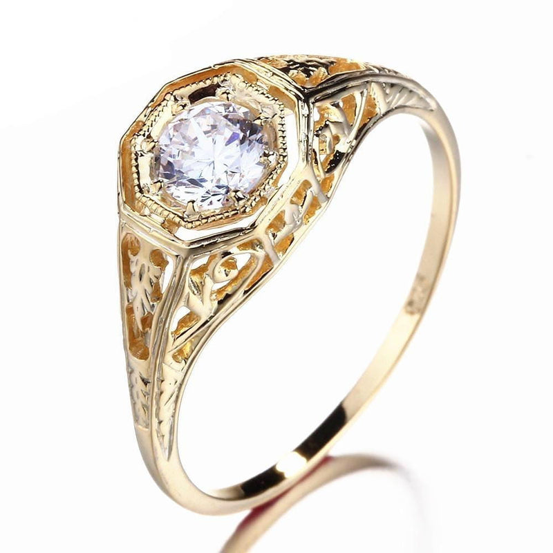 10k Yellow Gold Vintage / Unique Moissanite Ring 0.4ct - Moissanite Engagement Rings & Jewelry | Luxus Moissanite