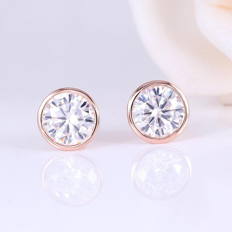 14k Rose Gold Bezel Moissanite Stud Earrings 2ct Total - Moissanite Engagement Rings & Jewelry | Luxus Moissanite