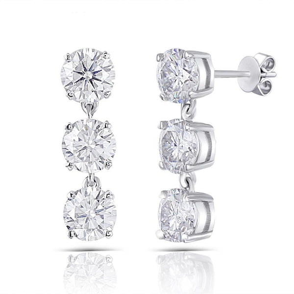 14k / 10k White Gold Drop / Dangle Moissanite Earrings 3ct Total - Moissanite Engagement Rings & Jewelry | Luxus Moissanite