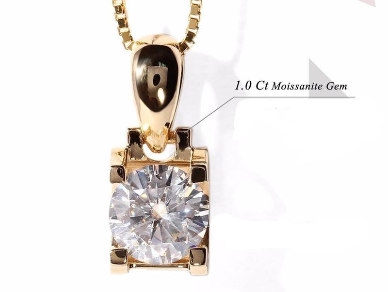 18k Yellow Gold Moissanite Necklace 1 Carat - Moissanite Engagement Rings & Jewelry | Luxus Moissanite