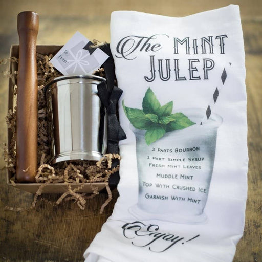 Stainless Mint Julep Cup, Towel & Mudder Gift Set