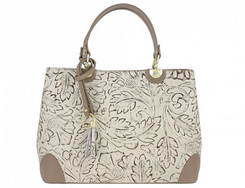 Elegant Handbag, Embossed Floral Print [Ready to Ship]
