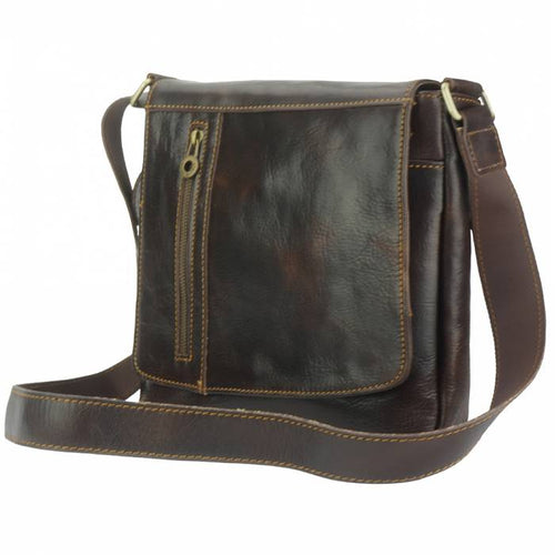 Compact Messenger Bag, Vintage Leather