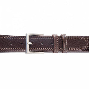 "Italian Leather Casual Jeans Belt, Double Stitched, 1-1/2"" wide [Ready to Ship]"
