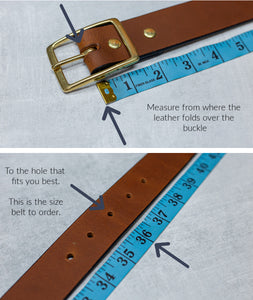 "Water Buffalo Leather Belt, 1"" wide, Round Buckle [Ready to Ship]"