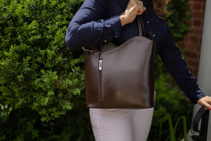 Convertible Handbag in Smooth Calf-Skin Leather