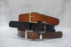 "Water Buffalo Leather Belt, 1-1/4"" wide, Square Buckle [Ready to Ship]"