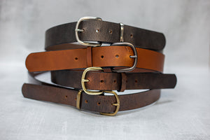 "Water Buffalo Leather Belt, 1-1/2"" wide, Round Buckle [Ready to Ship]"