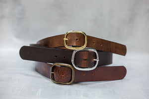 "Water Buffalo Leather Belt, 1-1/4"" wide, Round Buckle [Ready to Ship]"