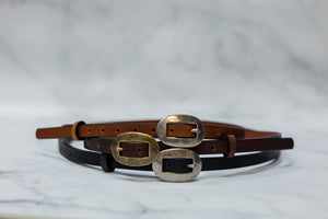 "Womens 1/2"" Leather Skinny Belt, Oval Buckle [Ready to Ship]"