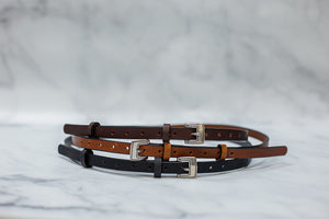 "Womens 1/2"" Leather Skinny Belt, Square Buckle [Ready to Ship]"