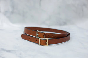 "Water Buffalo Leather Belt, 1"" wide, Abstract Buckle [Ready to Ship]"