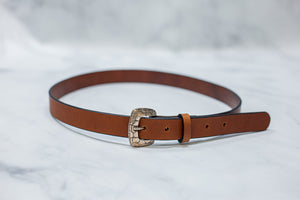 "Water Buffalo Leather Belt, 1"" wide, Tortoise Shell Buckle [Ready to Ship]"