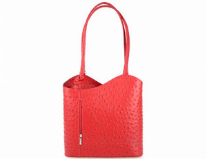Convertible Handbag in Ostrich Print Leather