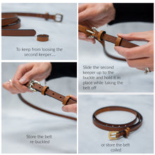 "Load image into Gallery viewer, Womens 1/2"" Leather Skinny Belt, Round Buckle [Ready to Ship]"