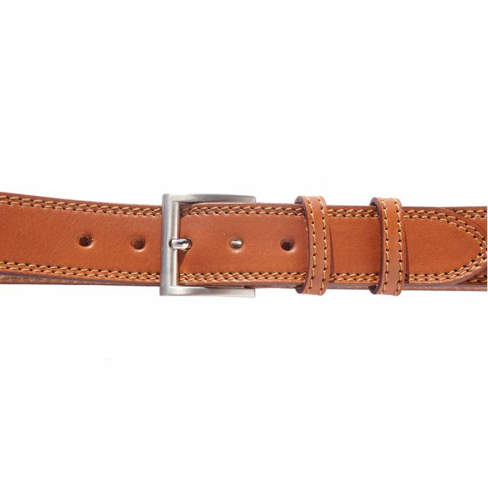 Italian Leather Casual Jeans Belt, Double Stitched, 1-1/2
