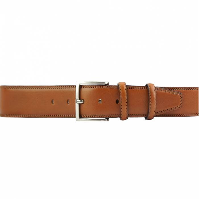 Italian Leather Dress Belt, Double Stitched, 1-1/4