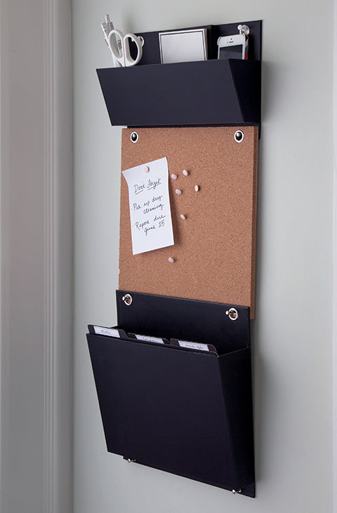 Hanging Wall File System with Bulletin Board and Supply Pocket