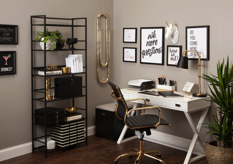 Using Bookshelf for Storage in Home Office