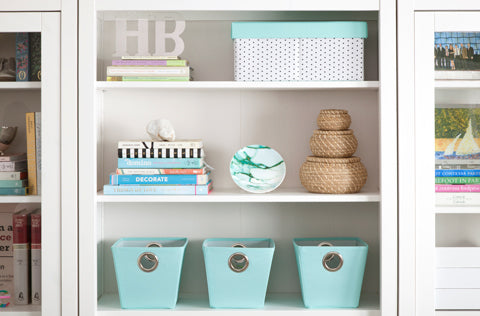 See Jane Work White Light Blue Organized Bookshelf Inspiration