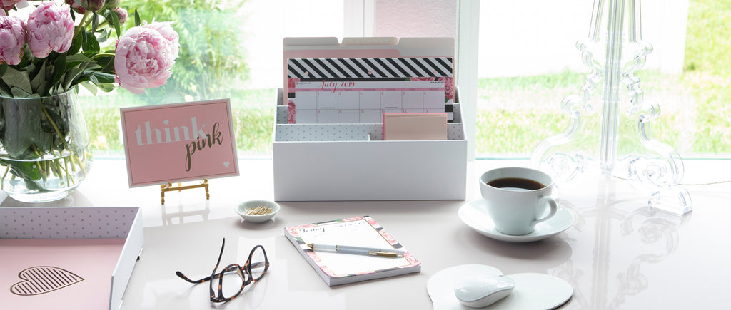 pink themed desk accessories