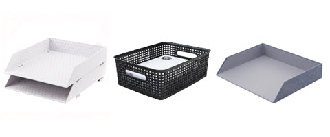 White Stacking Letter Trays Black Document Size Weave Bin Chambray Letter Trays
