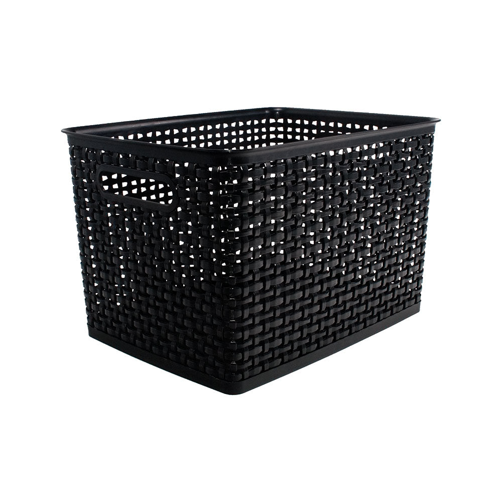 See Jane Work® Weave Bin Large, Black - see-jane-work