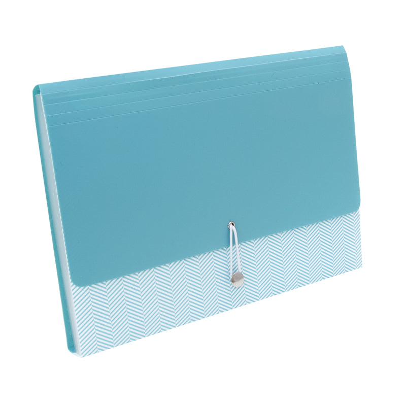 See Jane Work® Expandable 13 Pocket File, Blue Herringbone - see-jane-work