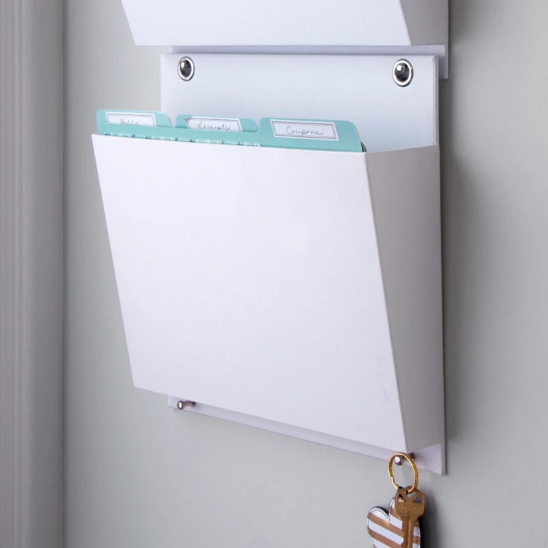 Wall File, White, hanging with files inside