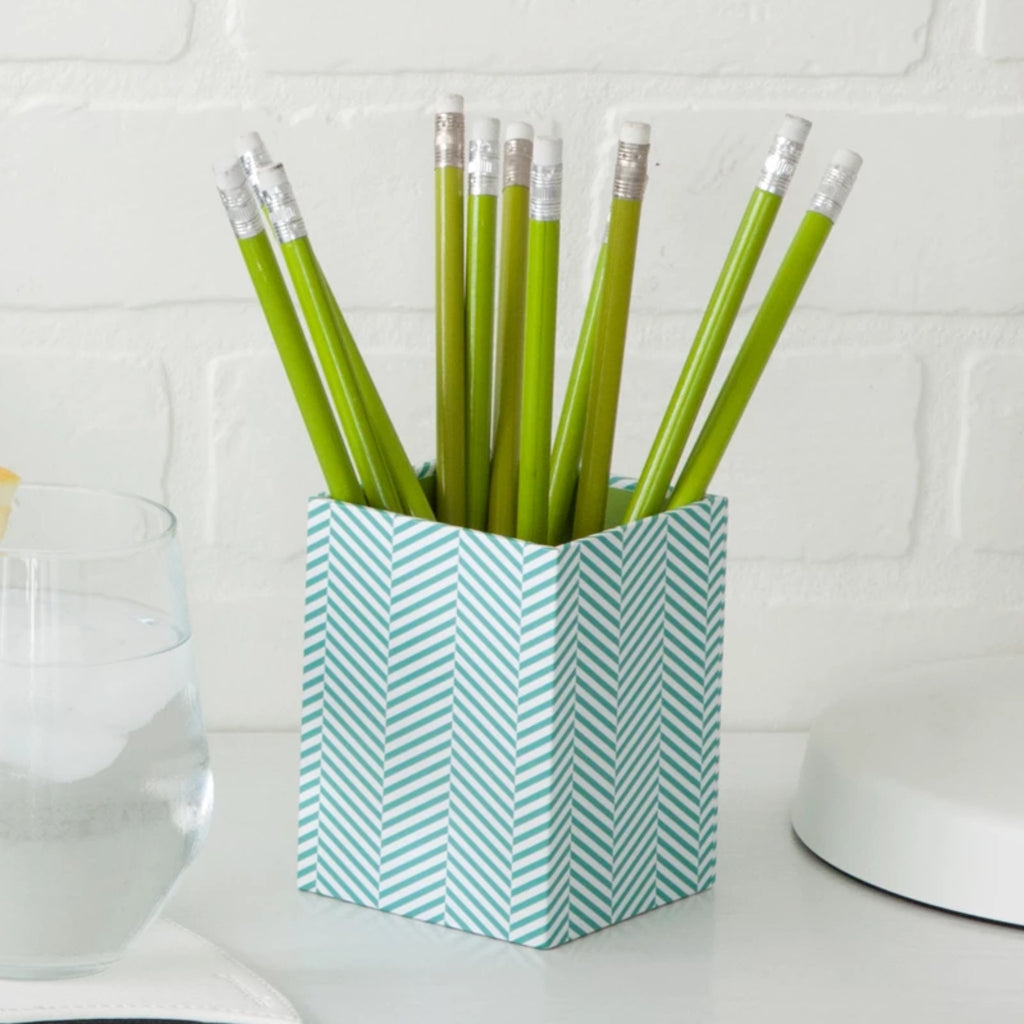 See Jane Work® Pencil Cup, Blue Herringbone - see-jane-work