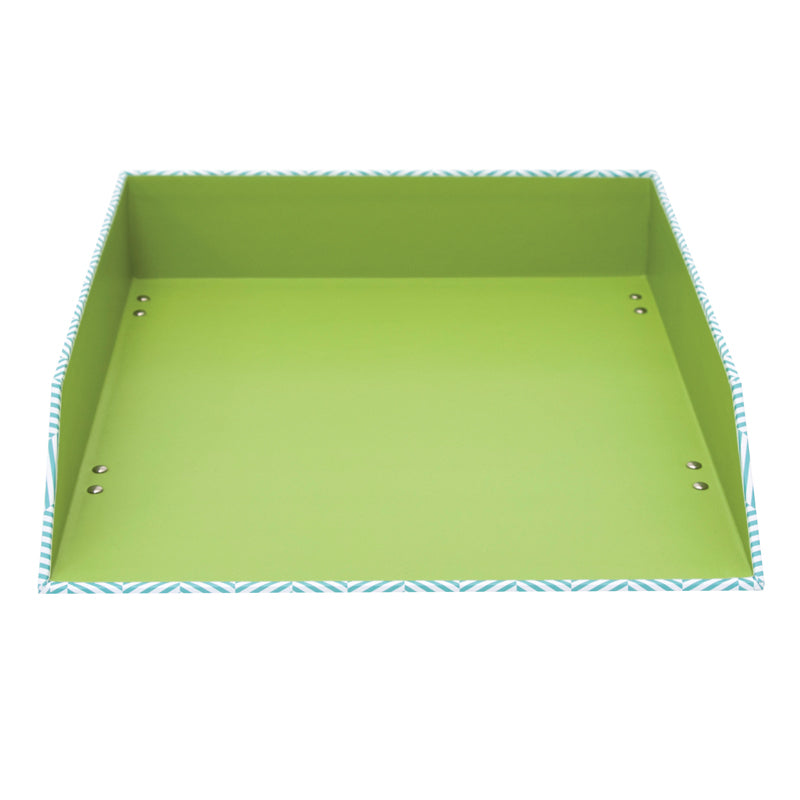 See Jane Work® Letter Tray, Blue Herringbone - see-jane-work
