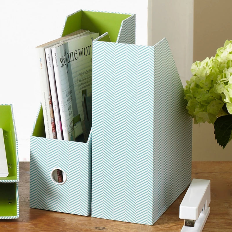 See Jane Work® Magazine File, Blue Herringbone - see-jane-work