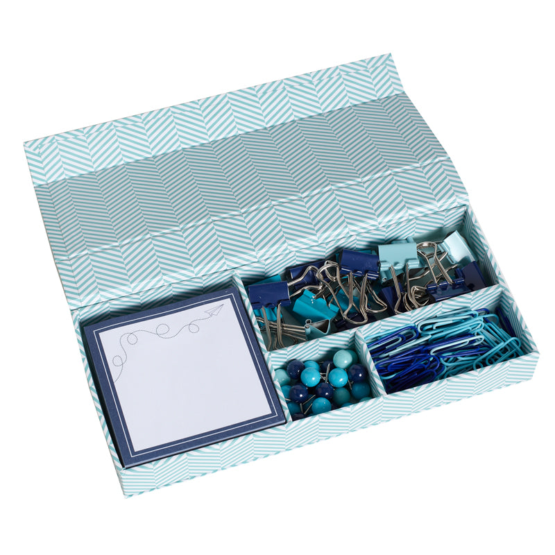 See Jane Work® Supply Box, Blue Herringbone - see-jane-work