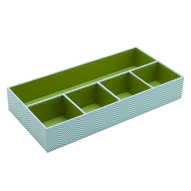 See Jane Work® Organizer Tray, Blue Herringbone - see-jane-work