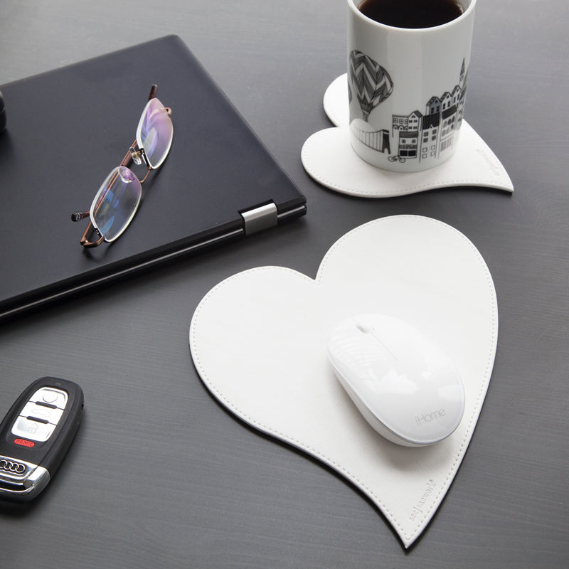 See Jane Work® Heart Mousepad Coaster Set White Faux Leather - see-jane-work