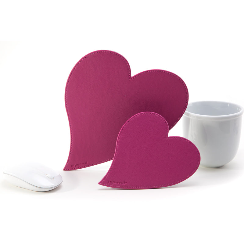 See Jane Work® Heart Mousepad Coaster Set Pink - see-jane-work